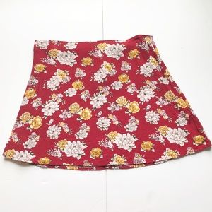 Forever 21 Red Floral A-line Skirt Size Large